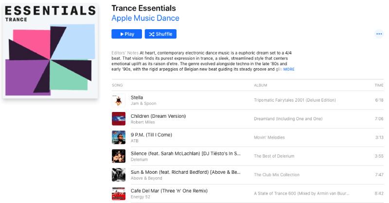 Apple Music Playlist Trance Essentials