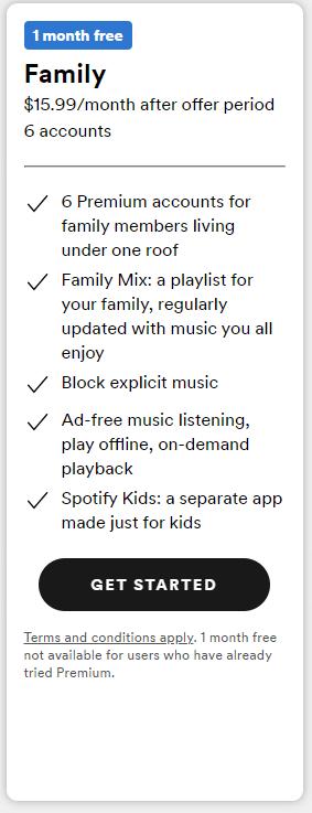 Spotify Premium Family Plan Cost